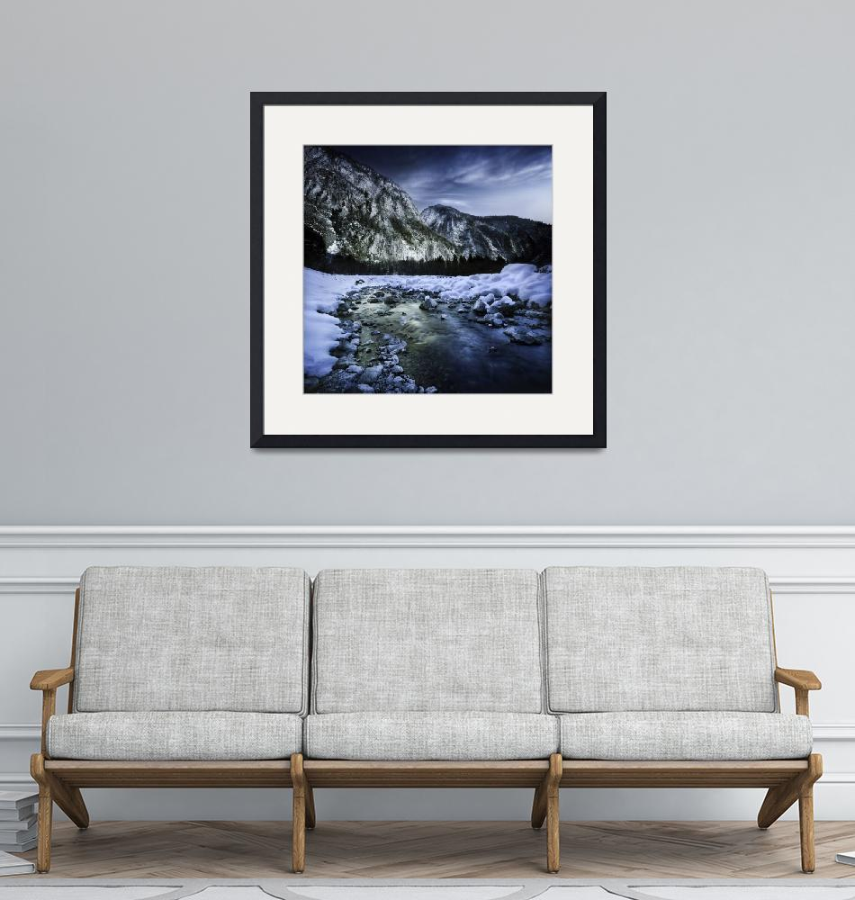 """""""A river flowing through the snowy mountains of Rit""""  by stocktrekimages"""