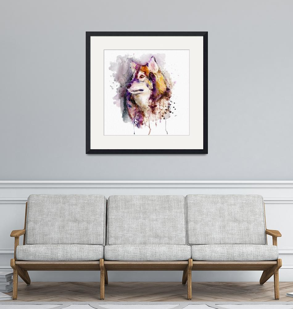 """""""Watercolor Wolf Portrait""""  (2018) by MarianVoicu"""