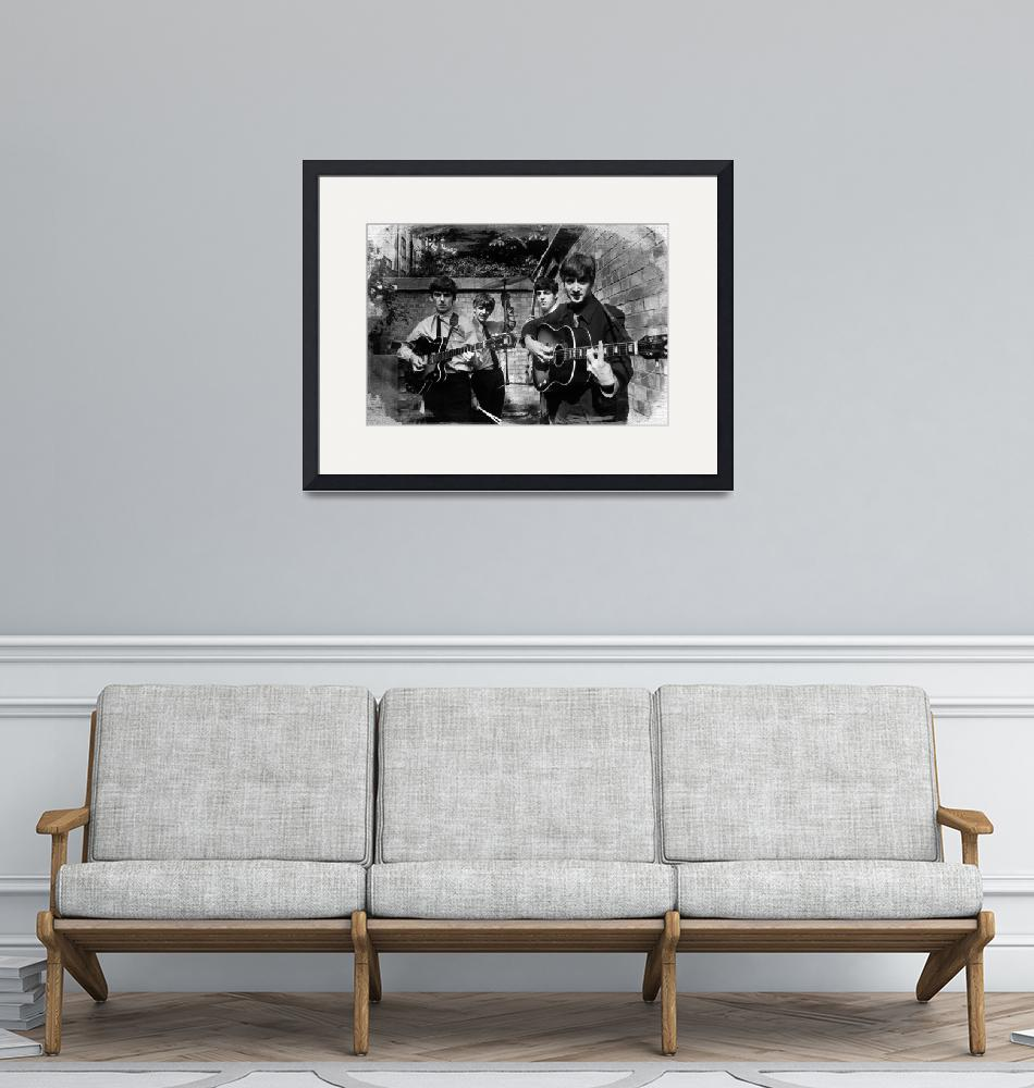 """""""The Beatles In London 1963 Black And White Paintin""""  by RubinoFineArt"""