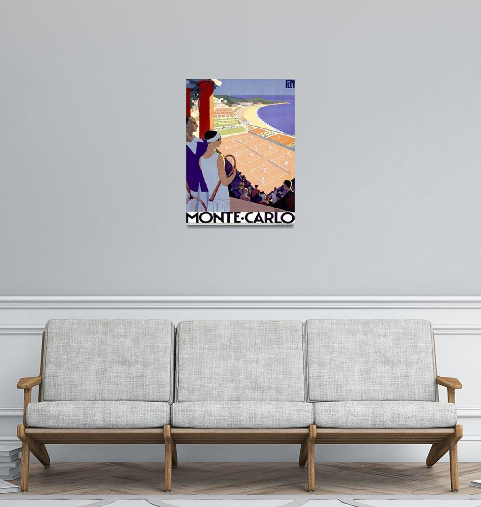 """""""Monte Carlo Vintage Tennis Poster""""  by FineArtClassics"""