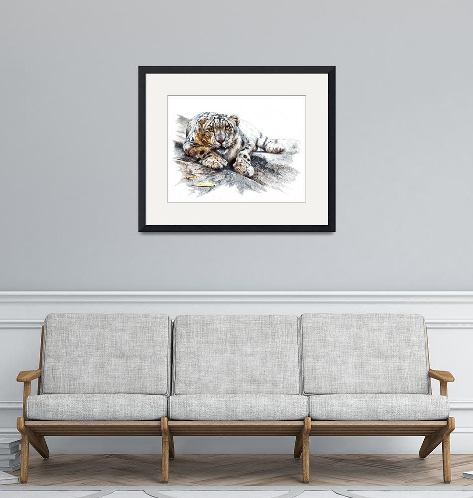 """""""Snow Leopard, Ethereal Spirit""""  (2017) by MightyFineArt"""