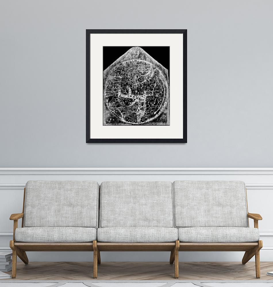"""Hereford Mappa Mundi 1300 Black & White Negative I""  (2014) by TheNorthernTerritory"