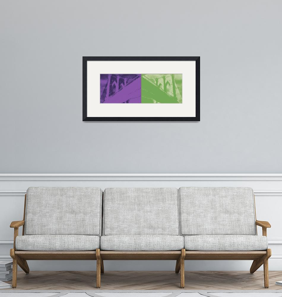 """Brooklyn Bridge Never Ends-Purple/Green""  (2011) by brookelundy"