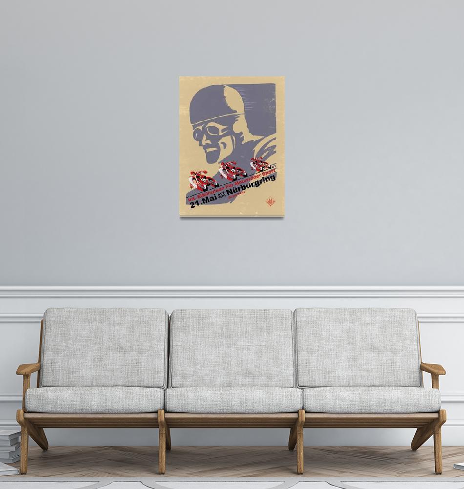 """""""Nurburgring Vintage Motorcycle Racing Poster""""  by mark-rogan"""