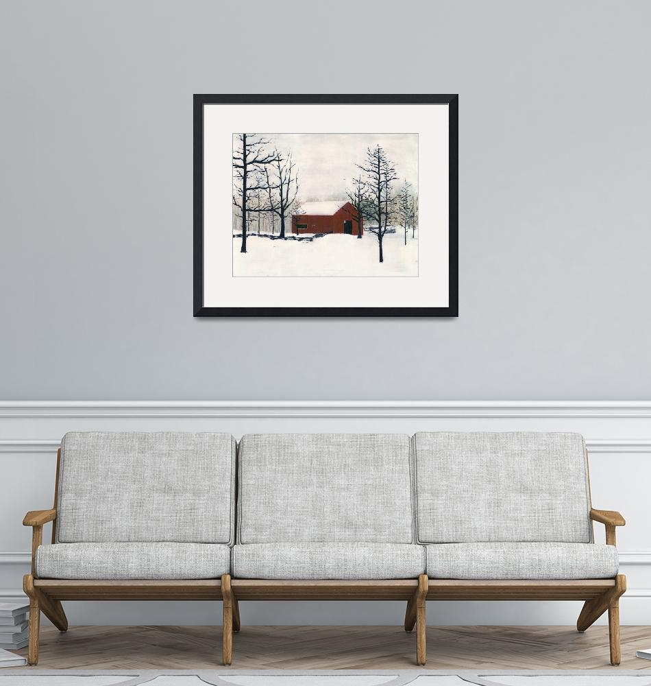 """""""ORIGINAL PAINTING RED BARN AND SNOW MARYLAND""""  by grl"""