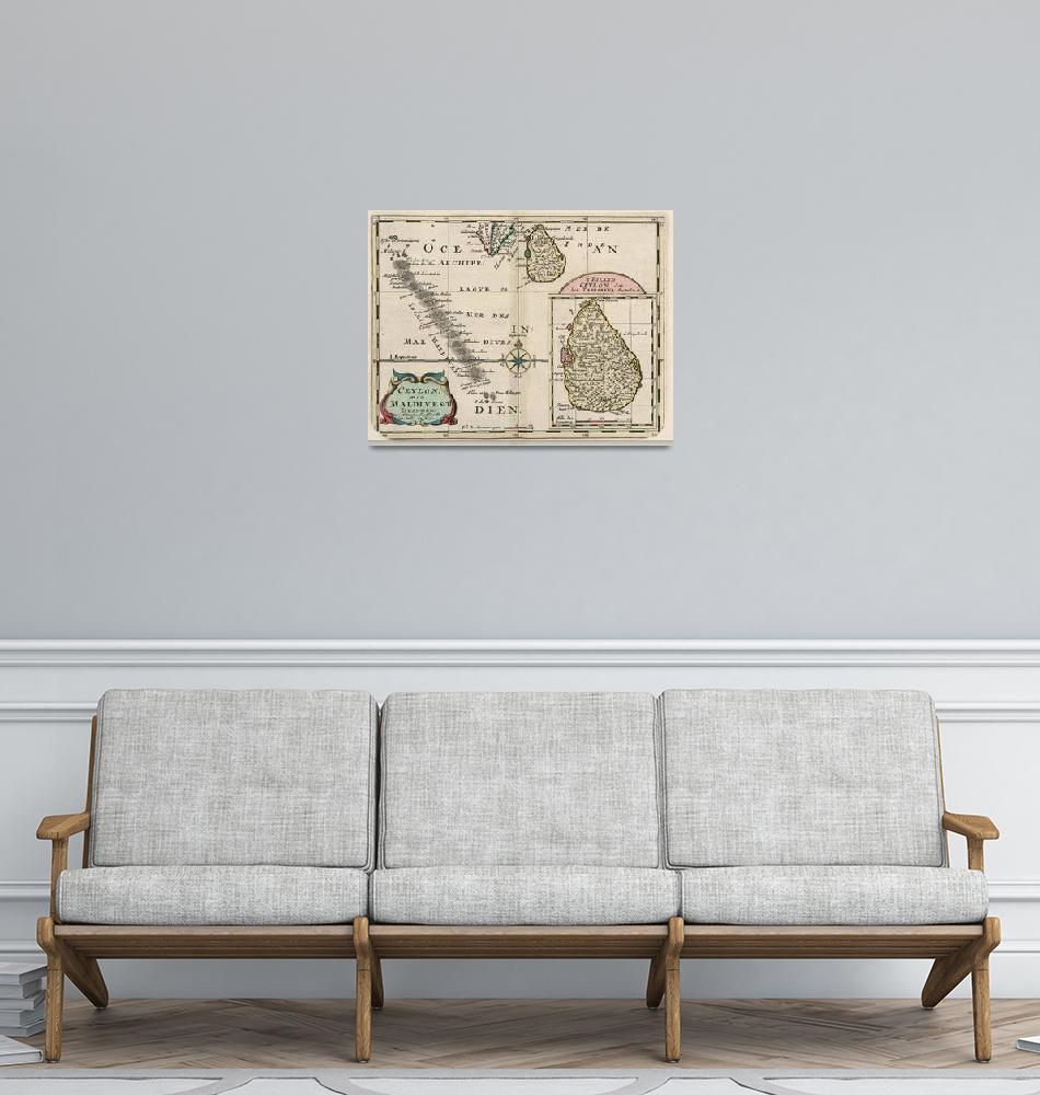 """Vintage Maldives and Sri Lanka Map (1705)""  by Alleycatshirts"