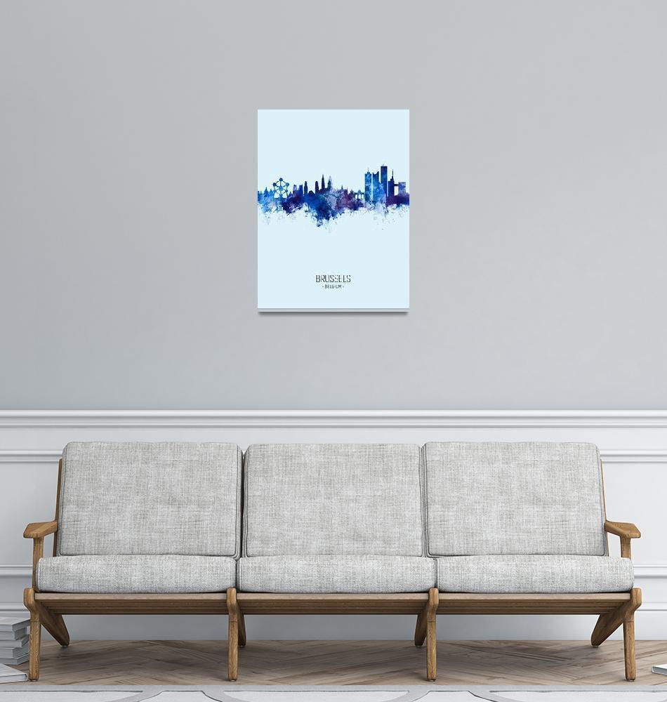"""""""Brussels Belgium Skyline""""  (2019) by ModernArtPrints"""