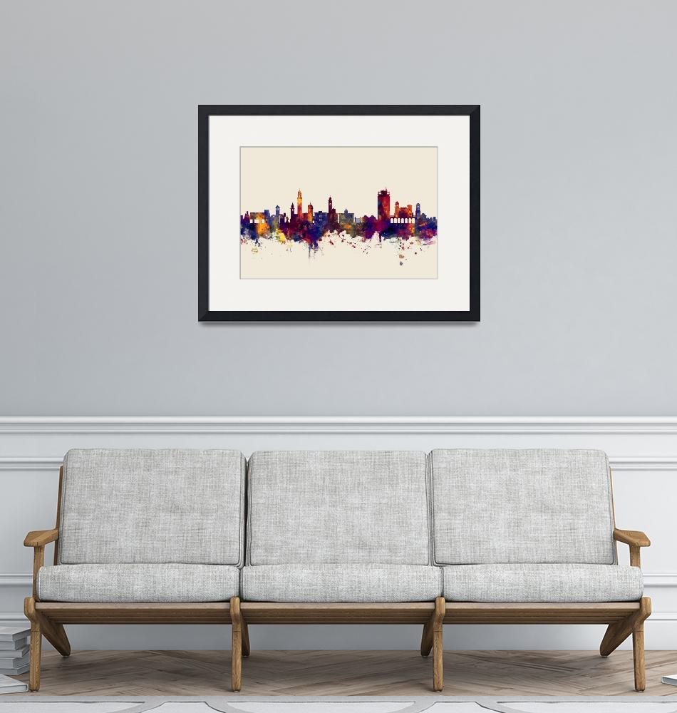 """Lugano Switzerland Skyline""  (2017) by ModernArtPrints"