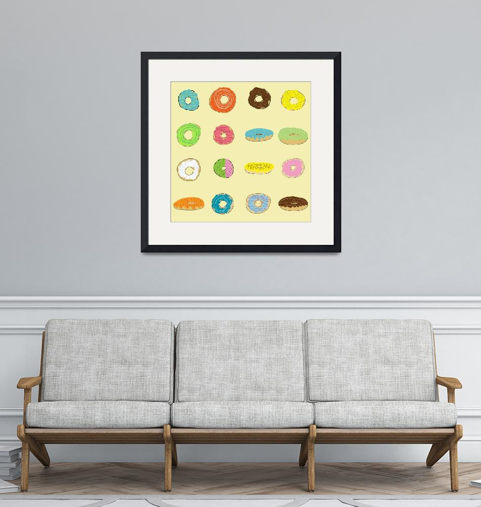 """""""Sixteen Donuts on Yellow""""  (2013) by TuesdayMoon"""
