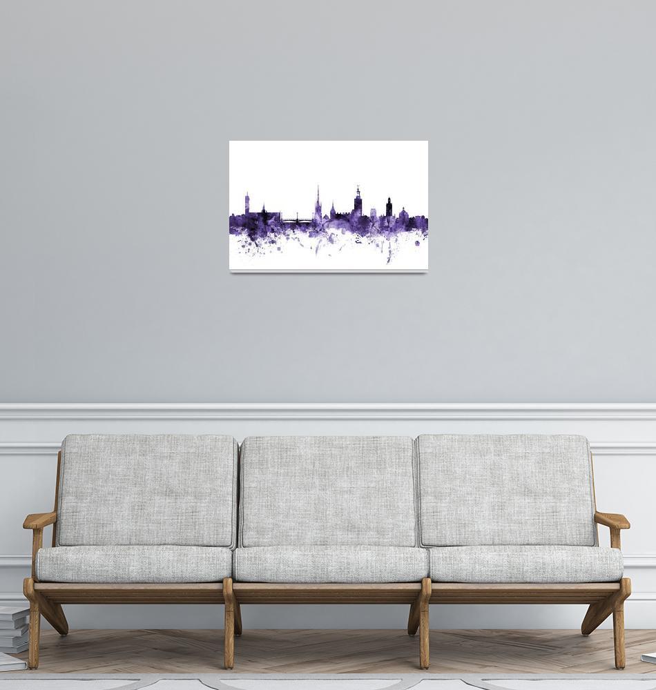 """""""Stockholm Sweden Skyline""""  (2018) by ModernArtPrints"""