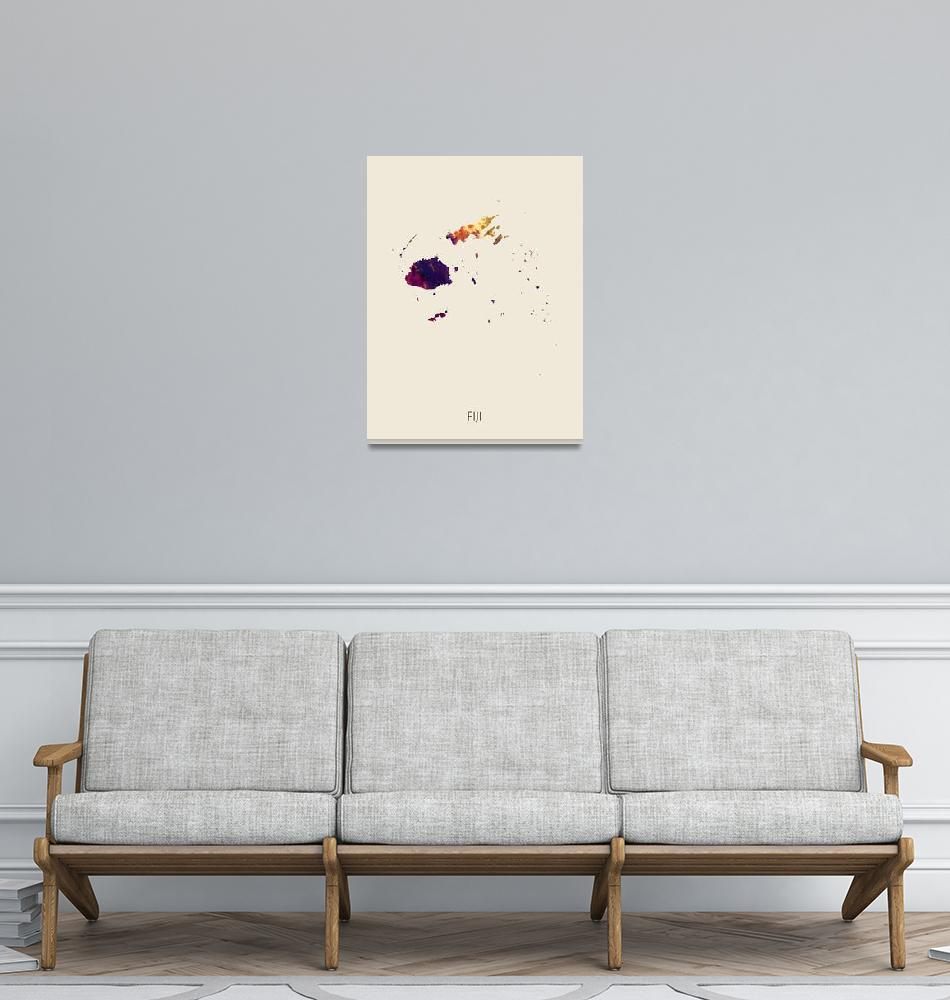 """Fiji Watercolor Map""  (2019) by ModernArtPrints"