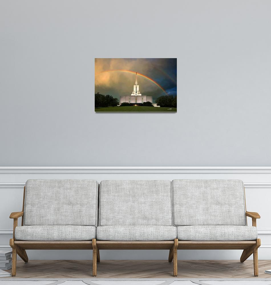 """""""20x30 Under the Rainbow Jordan River Temple""""  by lightvoyages"""