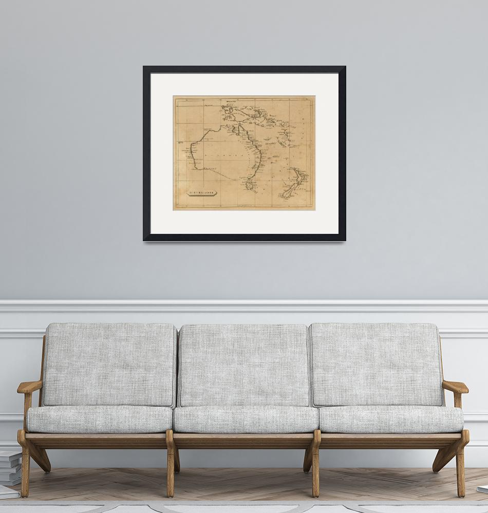 """Vintage Map of Australia & New Zealand (1812)""  by Alleycatshirts"
