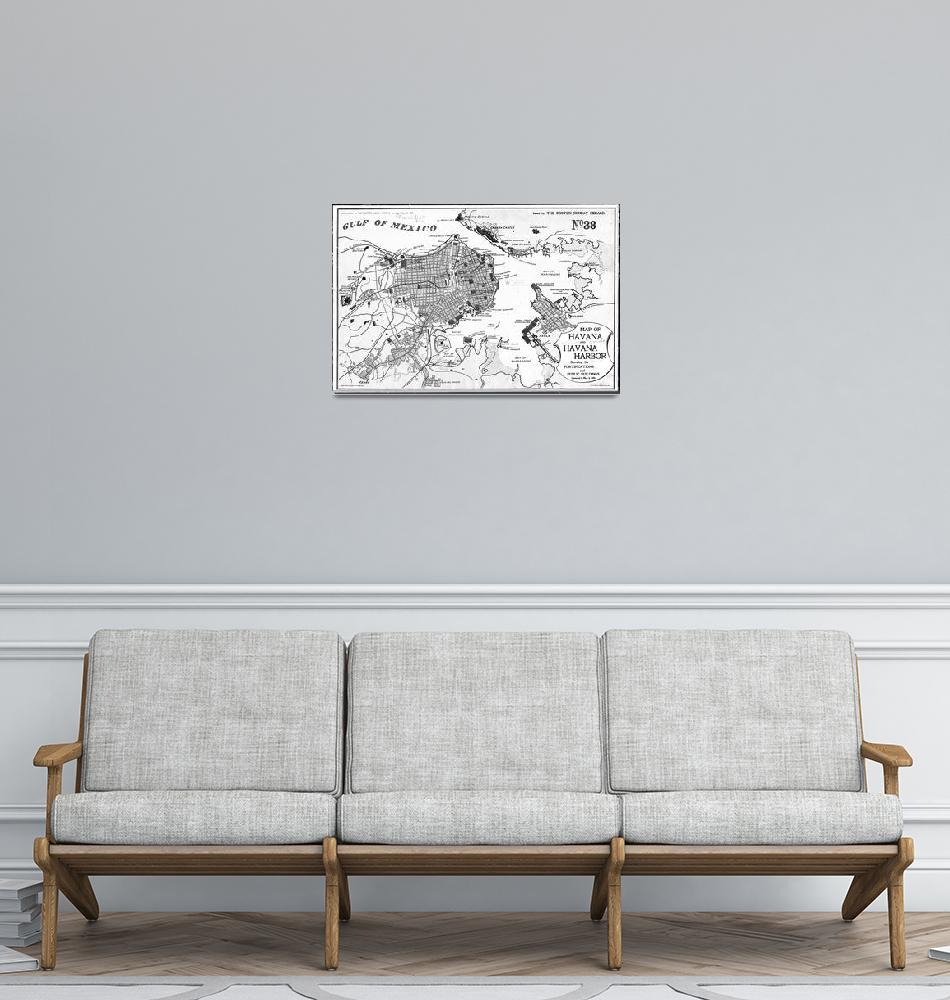 """Vintage Map of Havana Cuba (1898) 2 BW""  by Alleycatshirts"
