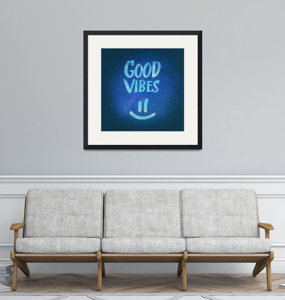 """""""Good Vibes - Funny Smiley Statement / Happy Face (""""  (2015) by badbugs"""