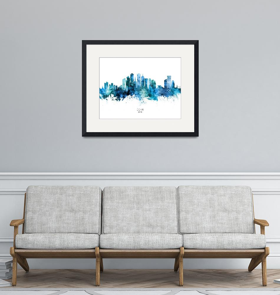 """Doha Qatar Skyline""  (2020) by ModernArtPrints"