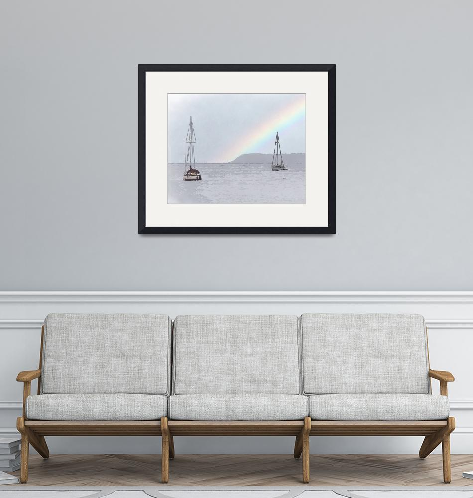 """""""Two Sailboats On Bellingham Bay"""" (2020) by Kirtdtisdale"""