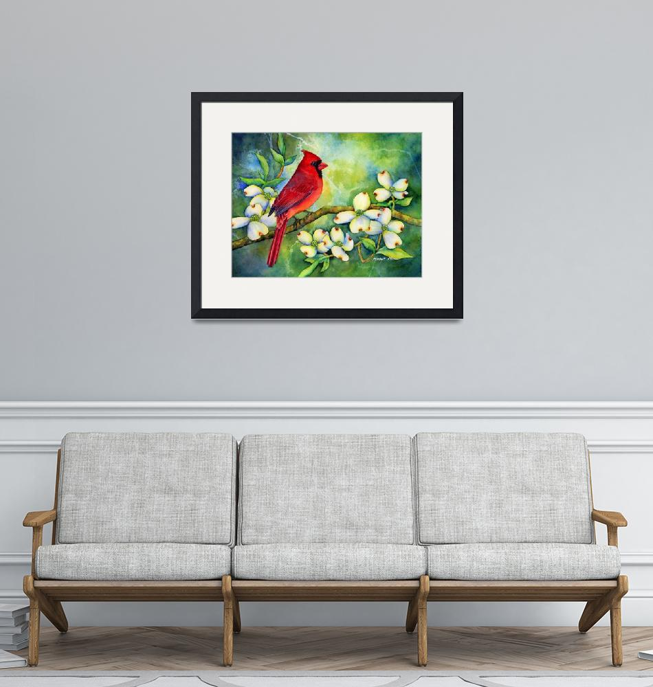 """Cardinal on Dogwood""  (2013) by HaileyWatermedia"