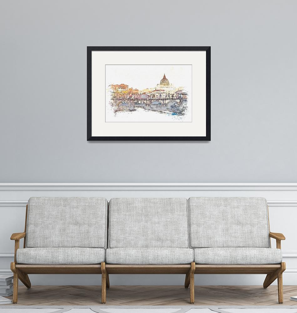 """""""The Vatican City at the Heart of Rome watercolor b""""  by motionage"""