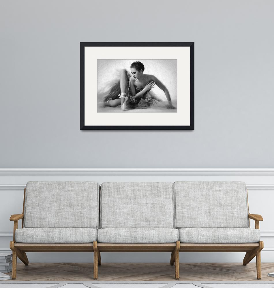 """Ballet Dancer Sitting Black and White""  (2014) by RubinoFineArt"