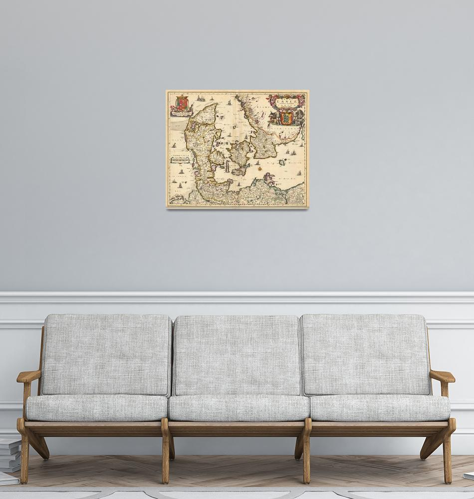 """Vintage Map of Denmark (1690)""  by Alleycatshirts"