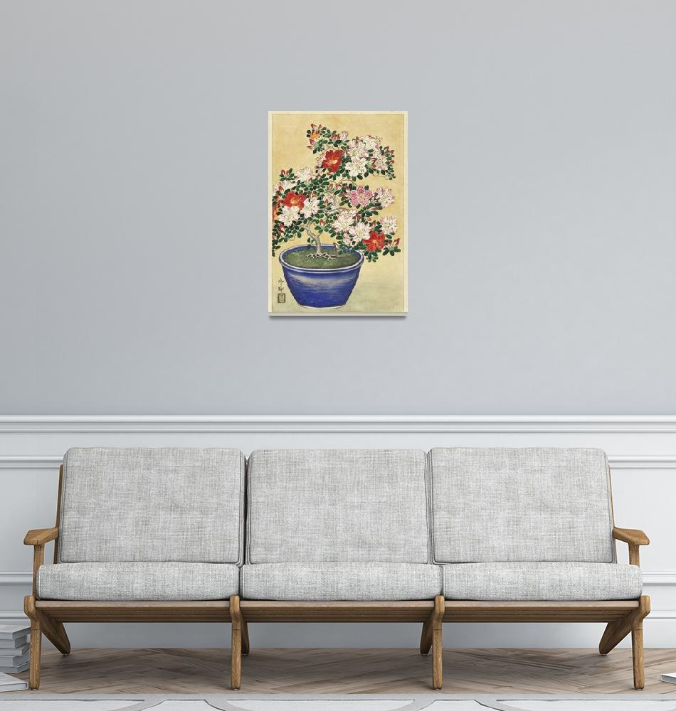 """Blooming Azalea in Blue Pot by Ohara Koson""  by FineArtClassics"