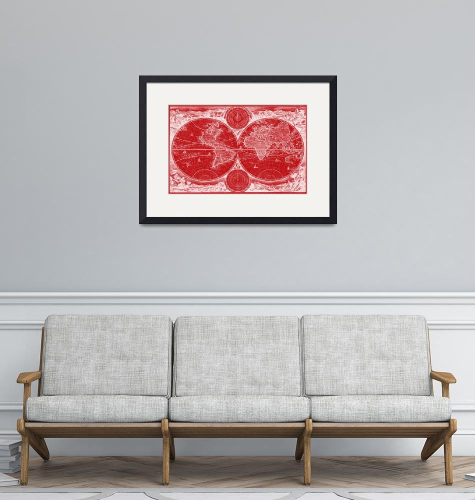"""""""World Map (1730) Red & White"""" by Alleycatshirts"""