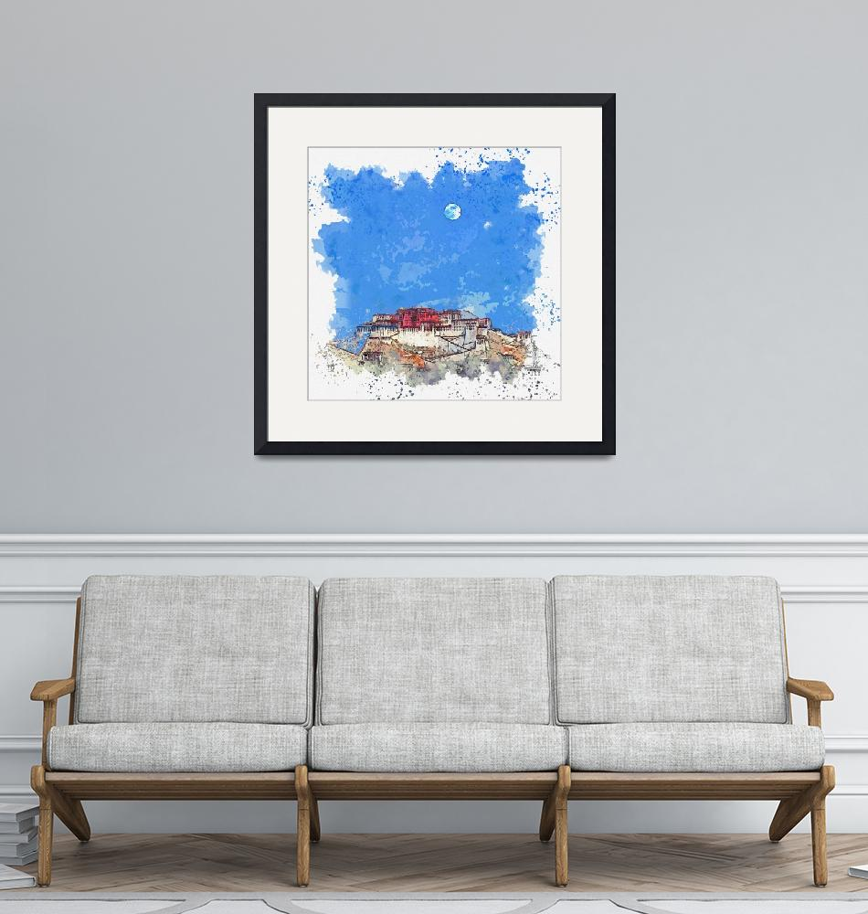 """Blue Moon over Lhasa Palace in Tibet -  watercolor""  by motionage"
