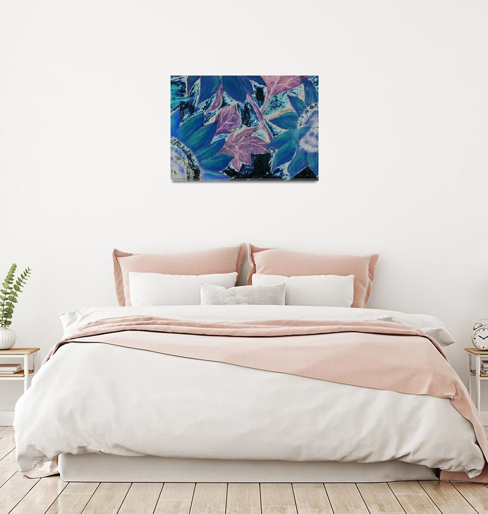 """Oil Sunflower blue surreal modern painting print""  (2008) by derekmccrea"