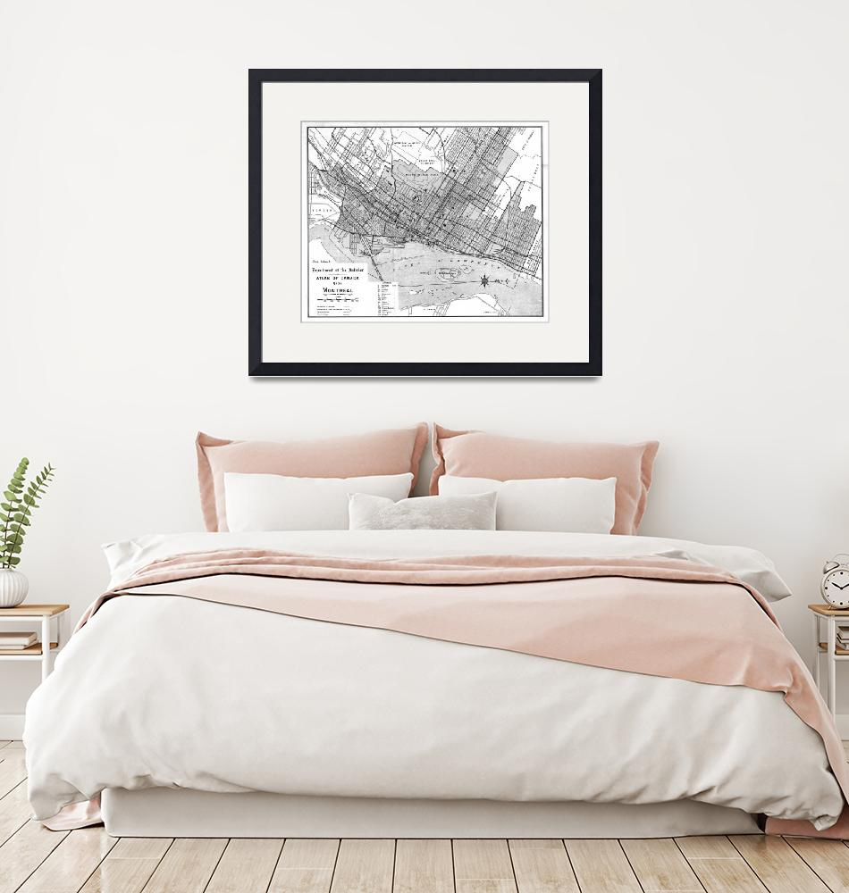 """""""Vintage Map of Montreal (1906) BW""""  by Alleycatshirts"""