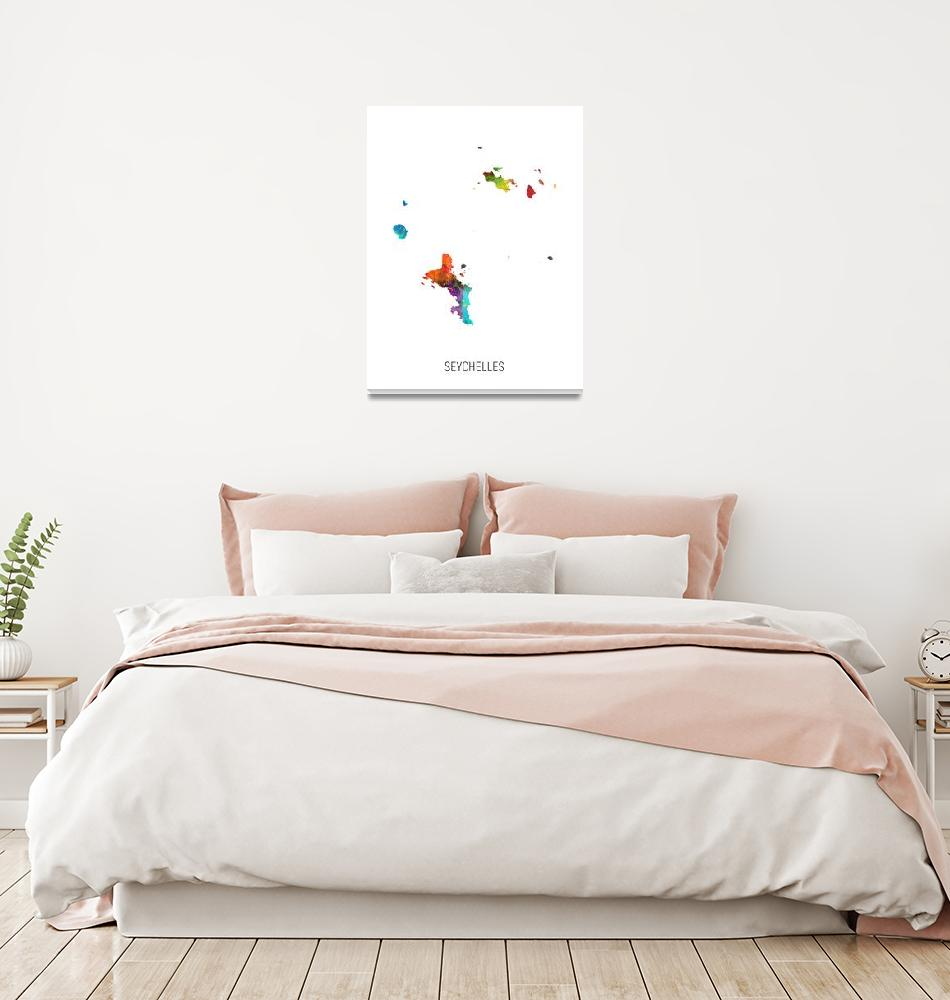 """Seychelles Watercolor Map""  (2019) by ModernArtPrints"