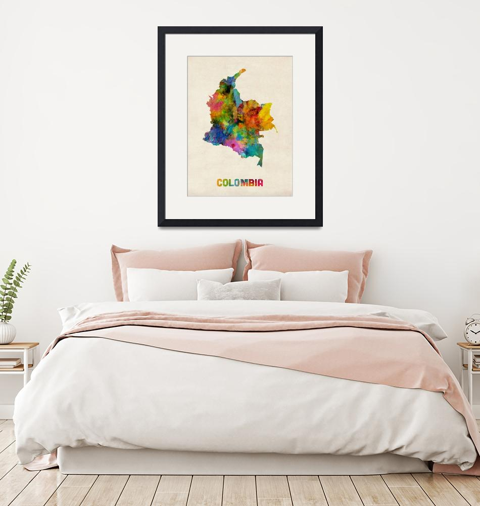 """""""Colombia Watercolor Map""""  (2014) by ModernArtPrints"""
