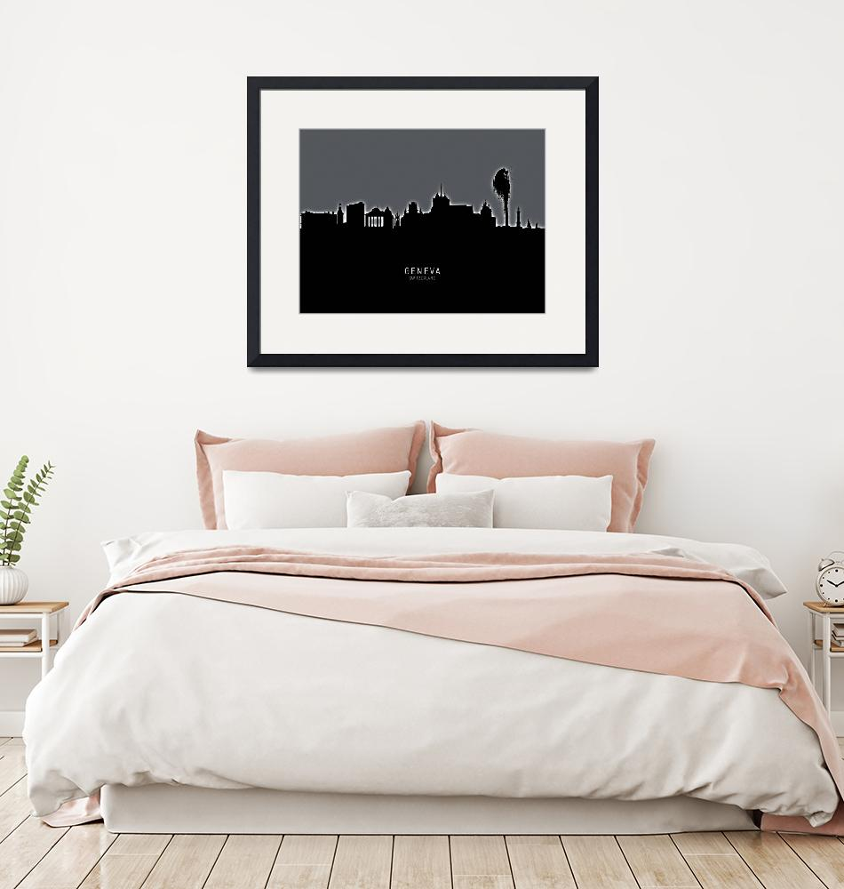"""Geneva Switzerland Skyline"" (2019) by ModernArtPrints"
