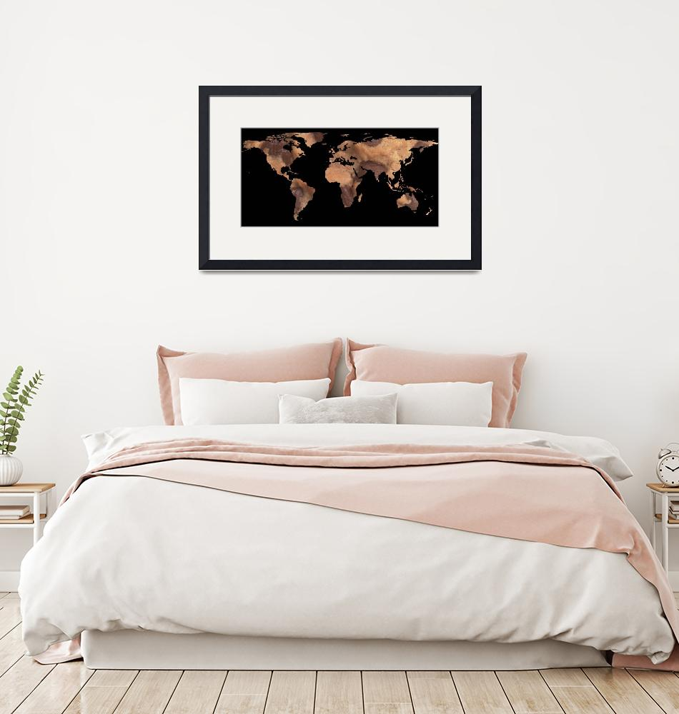 """World Map Silhouette - Cookie""  by Alleycatshirts"