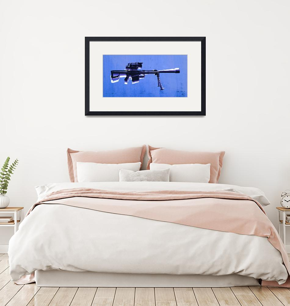 """M82 Sniper Rifle on Blue""  (2010) by ModernArtPrints"