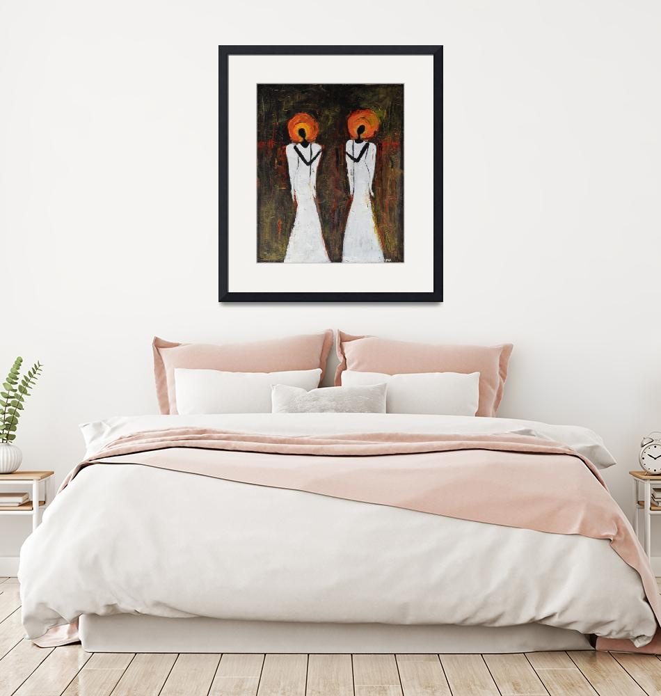 """""""Two Abstract Angels in old style"""" (2019) by Maggy"""
