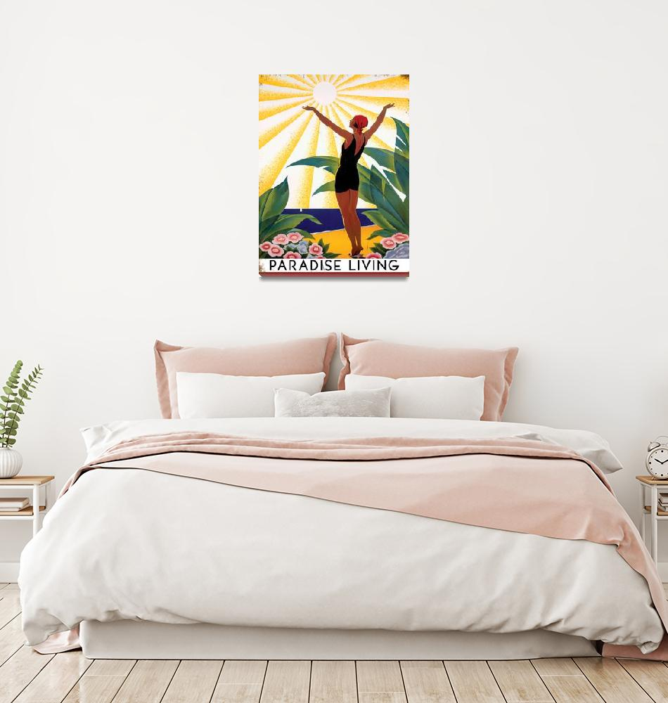 """Paradise Living Vintage Travel Poster""  by FineArtClassics"