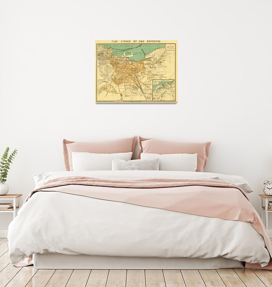 """""""Vintage Map of Oran Algeria (1913)""""  by Alleycatshirts"""