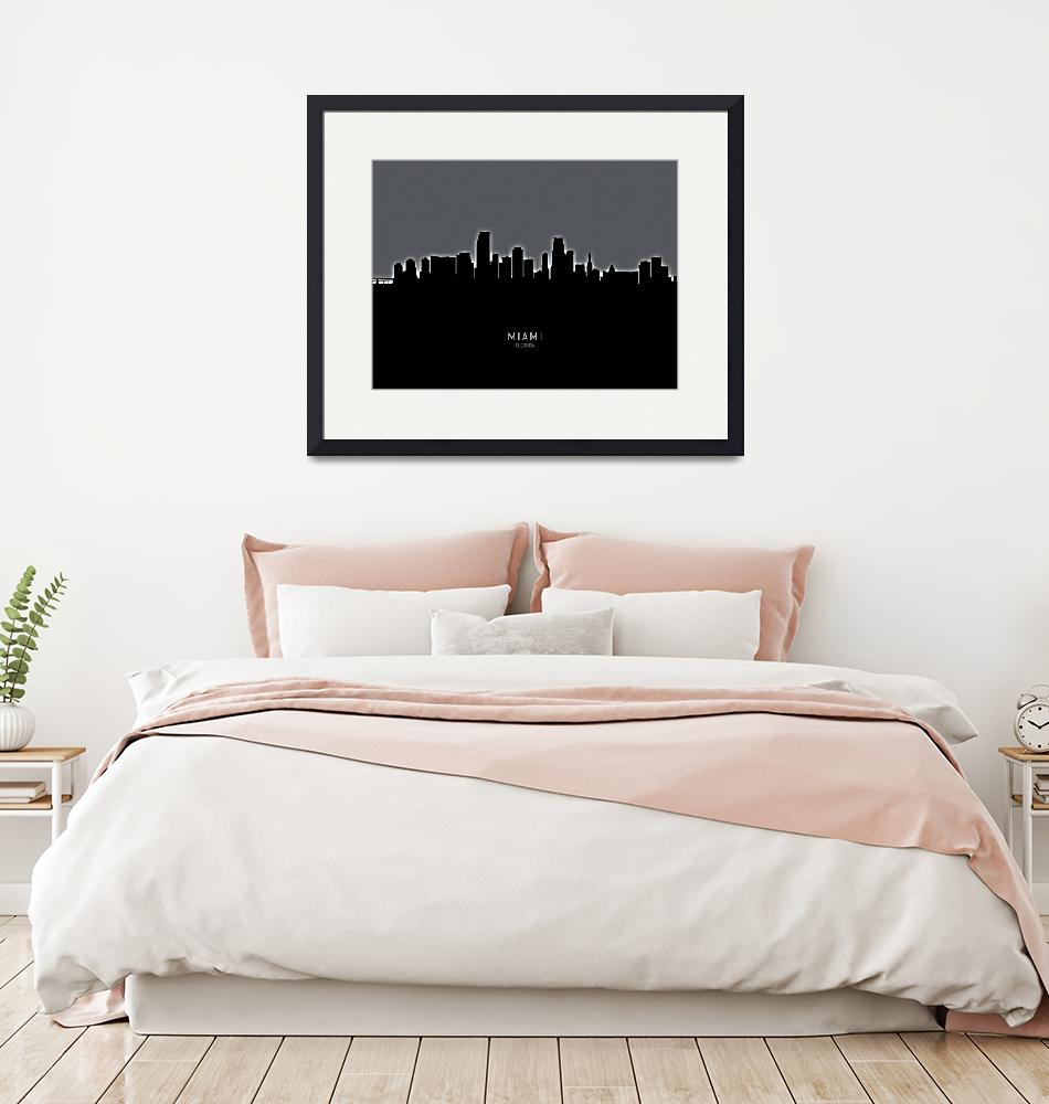 """Miami Florida Skyline""  (2019) by ModernArtPrints"