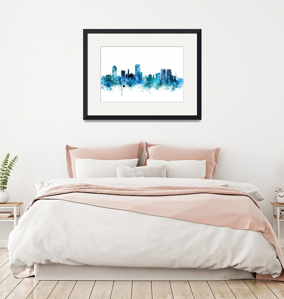 """Wellington New Zealand Skyline""  (2018) by ModernArtPrints"