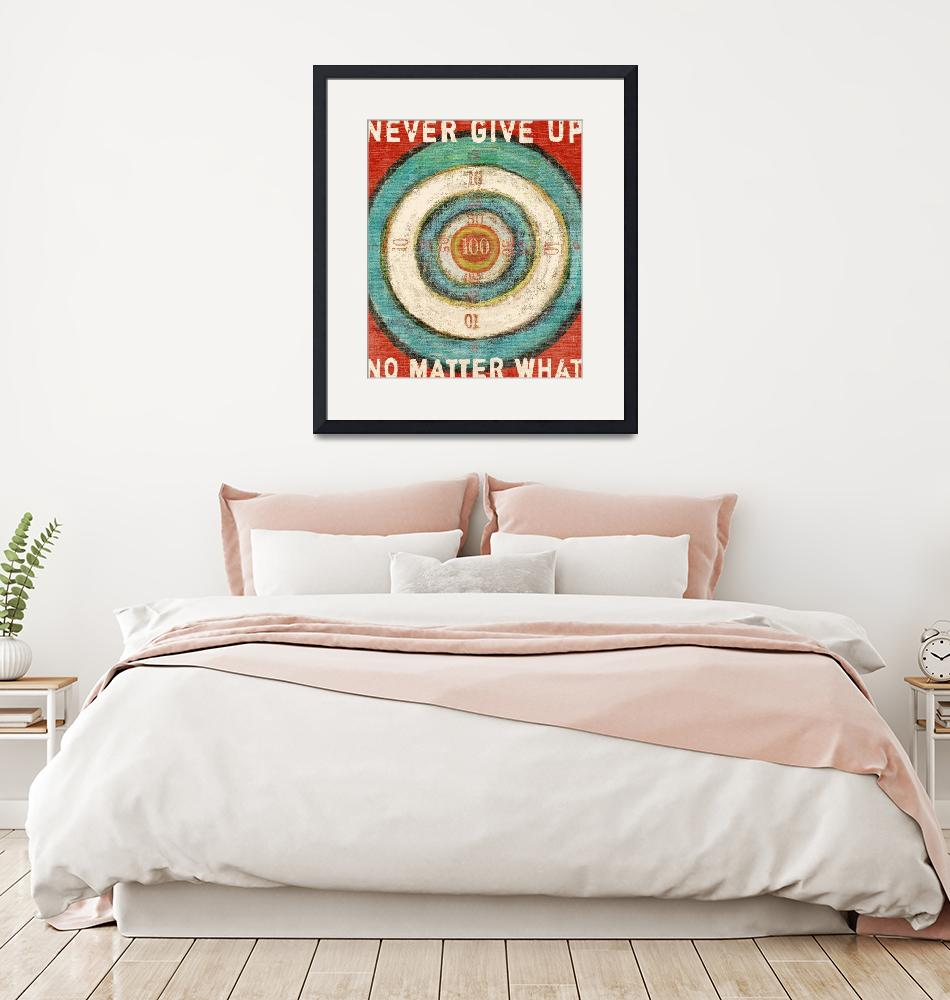 """VINTAGE DART BOARD - BULLSEYE - NEVER GIVE UP""  (2008) by lisaweedn"