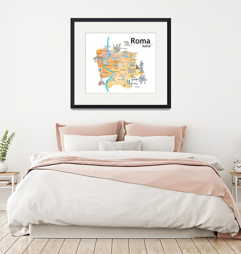 """""""Rome Italy Illustrated Travel Poster Favorite Map""""  (2019) by arthop77"""