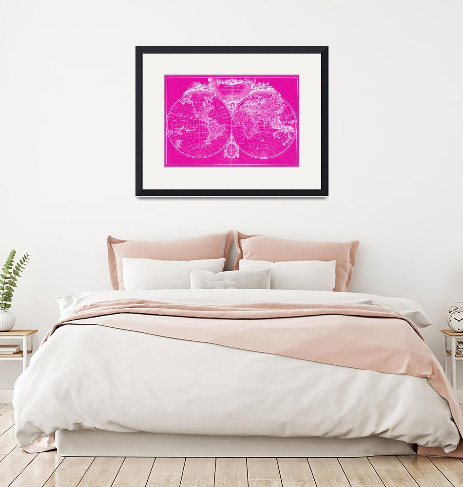 """World Map (1775) Pink & White""  by Alleycatshirts"