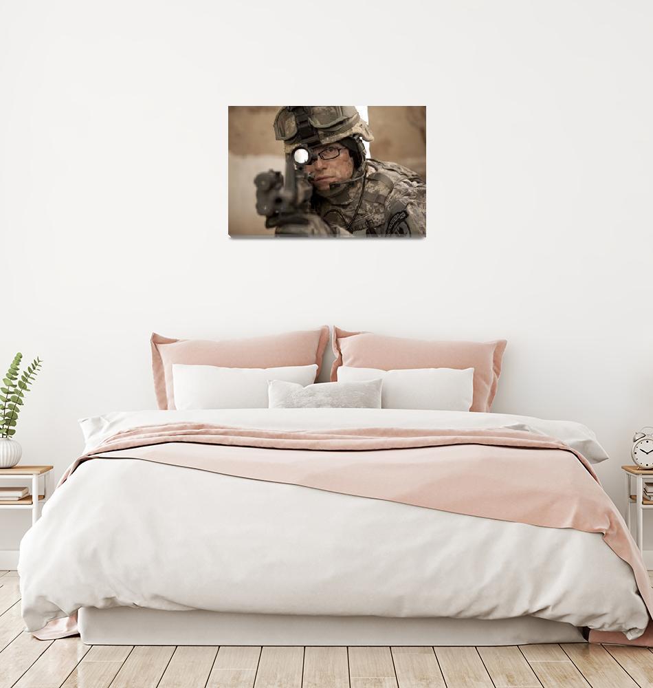 """U.S. Army Ranger in Afghanistan combat scene""  by stocktrekimages"