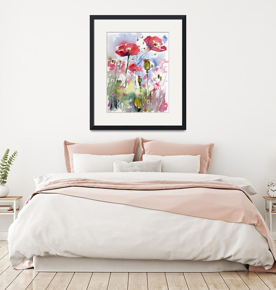 """""""Pink Poppies Pods and Bees Watercolor by Ginette""""  (2013) by GinetteCallaway"""