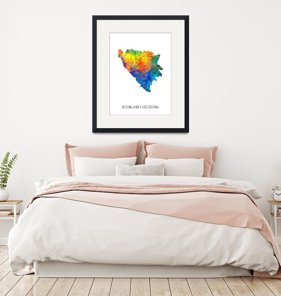 """Bosnia and Herzegovina Watercolor Map""  (2019) by ModernArtPrints"
