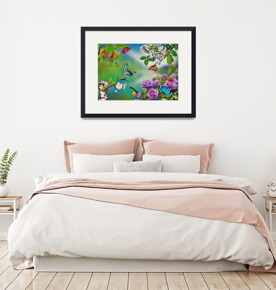"""""""Butterflies on flowers garden early autumn style"""" (2021) by Radiant"""