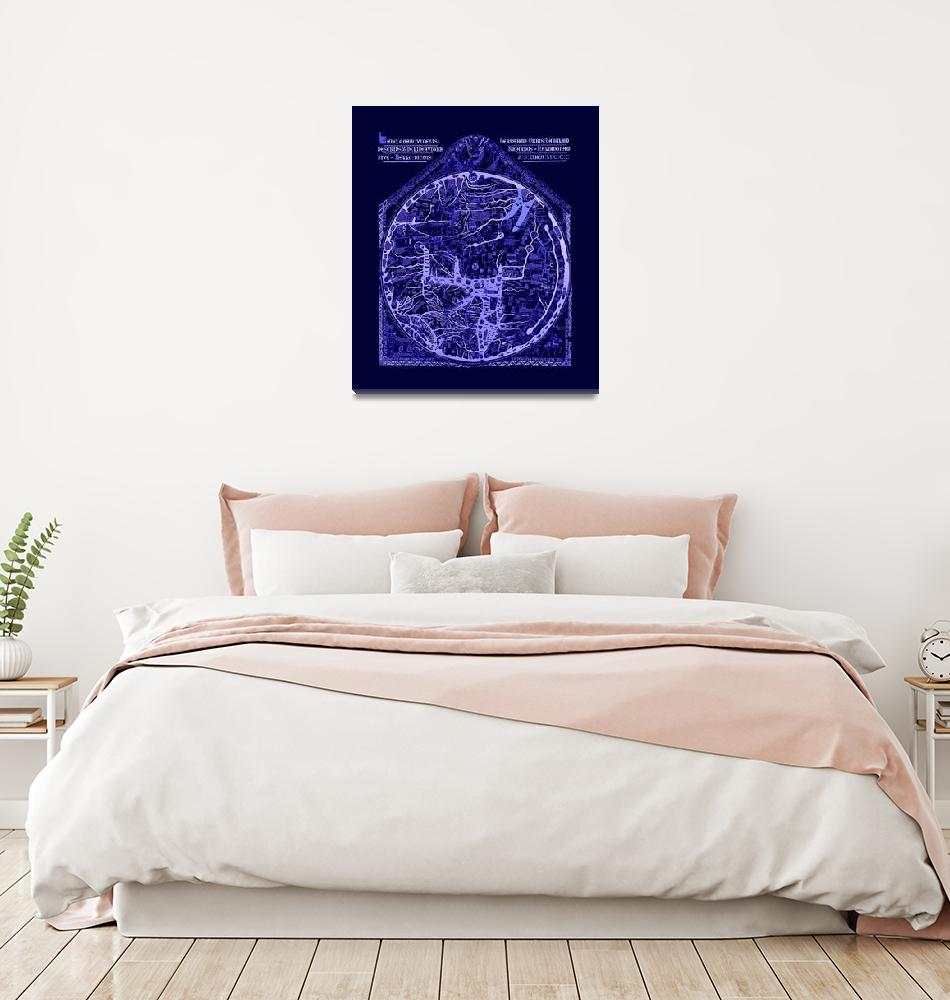 """Hereford Mappa Mundi Latin Text Neg Image Lrg Blue""  (2014) by TheNorthernTerritory"