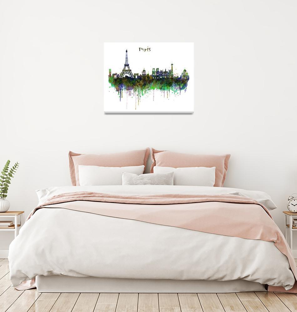 """Paris Skyline Watercolor""  (2015) by MarianVoicu"