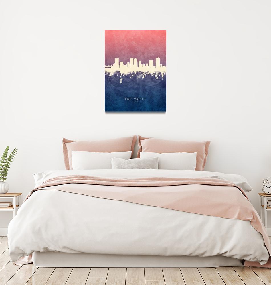 """Fort Worth Texas Skyline""  (2019) by ModernArtPrints"